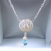 Dazzling Edwardian Style Diamond and Aquamarine Briolette Demi-Parure Necklace and Earrings