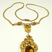 Enchanting Victorian Revival Topaz Stones Necklace