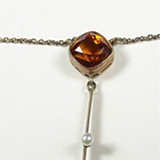 Divine Edwardian Madeira Citrine and Natural Pearl Necklace c. 1900