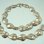 Incredible 1950's Handmade Taxco Sterling Necklace & Bracelet Set