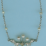 Diamond Delight Natural Pearl Edwardian Necklace c. 1910
