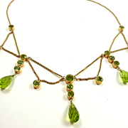 Art Nouveau Sparkly Peridot Festoon Style Necklace c. 1900