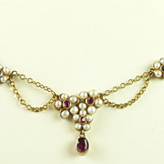 Victorian Honeymoon Festoon Necklace with Rubies, Sapphires & Natural Pearls
