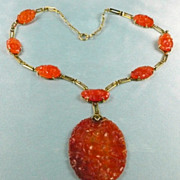 Adorable Art Deco 14kt. Gold and Carved Carnelian Plaque Necklace c. 1920