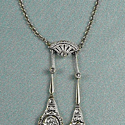 Extravagant Edwardian Negligee Diamond Pendant Necklace c. 1910