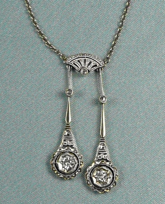 Extravagant Edwardian Negligee Diamond Pendant Necklace c ...