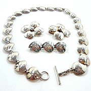 Scrumptious Niels Eric From Denmark Mid-Century Sterling Leaf Heart Demi-Parure c. 1950