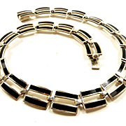 Classicly Elegant Margot de Taxco Sterling and Enamel Parallel Lines Necklace #5397A c. 1955
