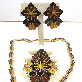 "Fascinating Margot de Taxco Enamel Parure ""Fanned Out"" #5604 c. 1955"