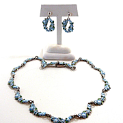 Dainty and Delightful Margot de Taxco Tiny Blue Flowers Demi-Parure #5600 c. 1955