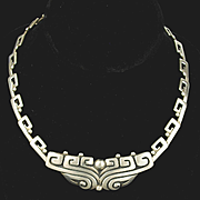 Historic Margot de Taxco Pre-Columbian design Sterling Necklace #5243 c. 1950