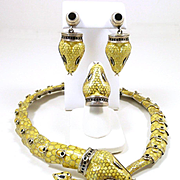 Slithery Snake Margot de Taxco Sterling and Enamel Demi-Parure #5544 c. 1955