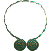 Sinuous Margot de Taxco Circular Spiral Sterling and Enamel Necklace #5544 c. 1955