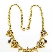 Phenomenal French Egyptian Revival Art Nouveau Necklace c. 1890