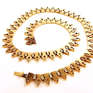 Exquisite French Rose Gold Gothic Style Bishop Miter Necklace c. 1880