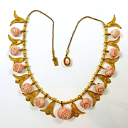 Enchanting Etruscan Revival Coral Victorian Necklace c. 1870