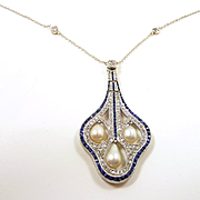 Astounding Edwardian Platinum Diamond, Sapphire and Natural Pearl Pendant Necklace c. 1910