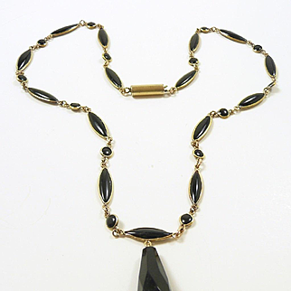 Mystical Victorian Mourning Necklace with Onyx c. 1870