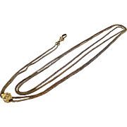Interesting Victorian Long Chain with Slide in Yellow and Rolled Gold Pearls and Turquoise c. 1870