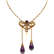 Charming Art Nouveau Negligee Style Necklace with Briolette Amethysts and Pearls