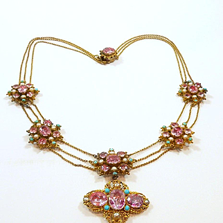 Glittering Georgian Foiled Pink Topaz Festoon Necklace c. 1820