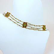 Melodious Art Nouveau Peridot and Pearl Choker Necklace c. 1890
