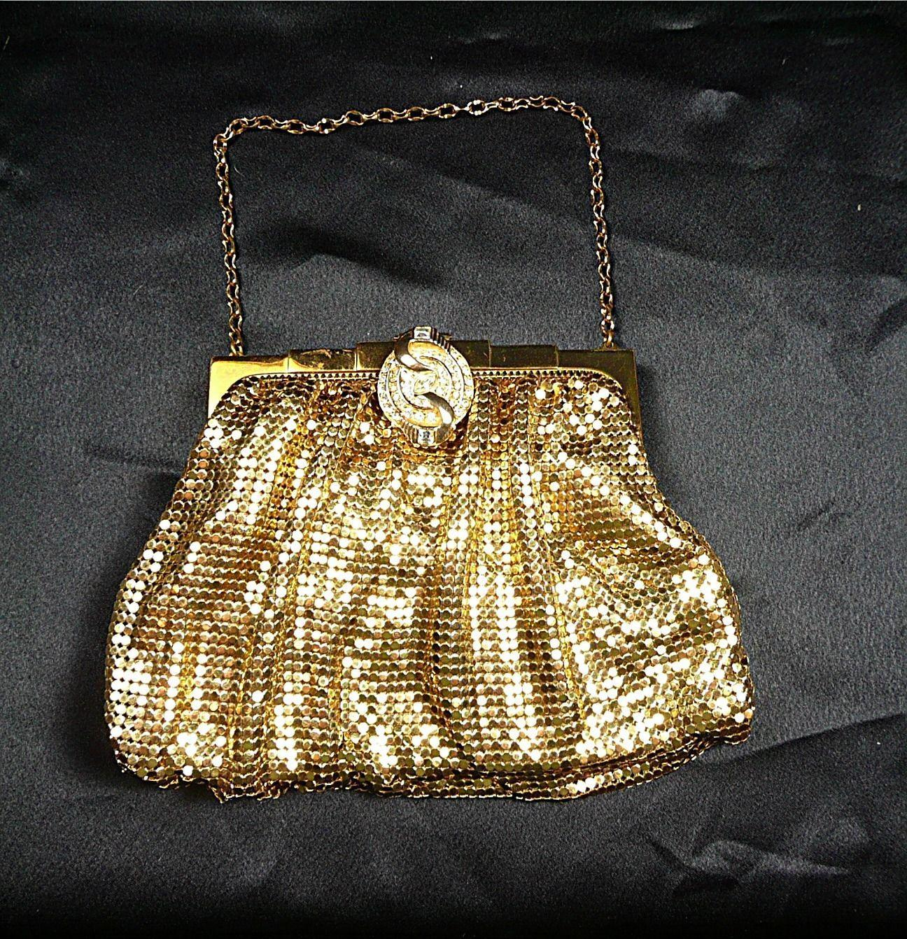 Delicious Vintage Whiting & Davis Mesh and Crystal Purse c