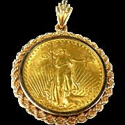 Smart $20 St. Gaudens Liberty 1925 90% Gold Coin Pendant