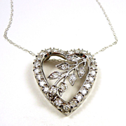 Wonderful Vintage c. 1955 Sweetheart White Gold & Diamond Necklace
