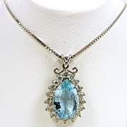 Fab Aquamarine & Diamond Pendant c. 1978