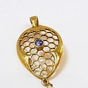 Charming Honeycomb Art Nouveau Sapphire and Pearl Pendant c. 1890