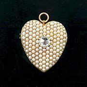 Victorian 14kt. Yellow Gold Pearl Encrusted w Diamond Heart Brooch/ Pendant c. 1880