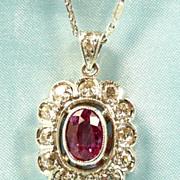 Electric Edwardian Platinum, Pink Sapphire and Diamond Pendant c. 1910
