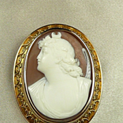 Etruscan Revival 14kt. Cameo Pendant Brooch of Diana, Roman Goddess by John Wanamaker c. 1870
