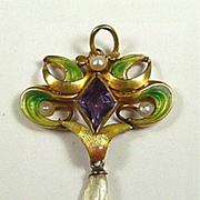 Enchanting Enamel Art Nouveau Pendant with Amethyst and River Pearl c. 1890