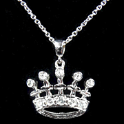Regal Vintage Crown Diamond Pendant