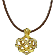 Striking Sweetheart Diamond and Brushed Gold Celtic Heart in 18kt. Gold