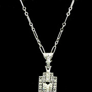 Exuberant Art Deco Architectural Diamond, Platinum and White Gold Necklace c. 1925