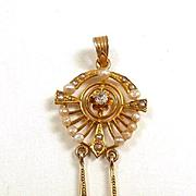 Elegant Edwardian Negligee Style Diamond and Natural Pearl Pendant c. 1910