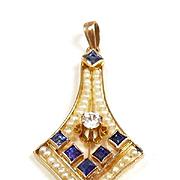 Scrumptious Art Nouveau Pendant with Diamonds, Sapphires & Natural Pearls c. 1900