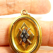 Wistful Victorian Diamond, Enamel and Gold Initial Locket c. 1870