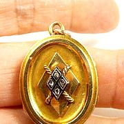 Wistful Victorian Diamond, Enamel and Gold Initial Locket c. 1870