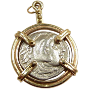Classic Handmade Ancient Alexander the Great Silver Coin and Gold Pendant c 320BC