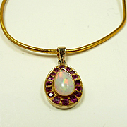 Artful Art Nouveau Ruby and Opal Pendant C. 1890