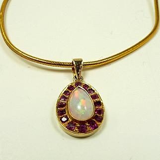 Artful Art Nouveau Ruby and Opal Pendant C. 1890