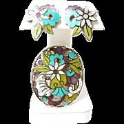 Fantastic Margot de Taxco Enamel Floral Circles #5860 c. 1955