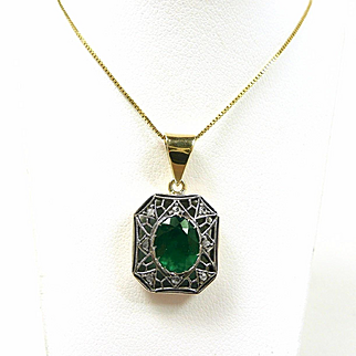 Enthralling Emerald and Diamond Early Victorian Pendant c. 1840