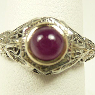 Regal Art Deco Ruby Filigree Ring c. 1920