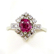 Fascinating Blush Red Ruby and Diamond 18kt. Gold Vintage Ring c. 1950