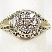 Splashy Platinum Art Deco FIligree and Diamond Ring c. 1920